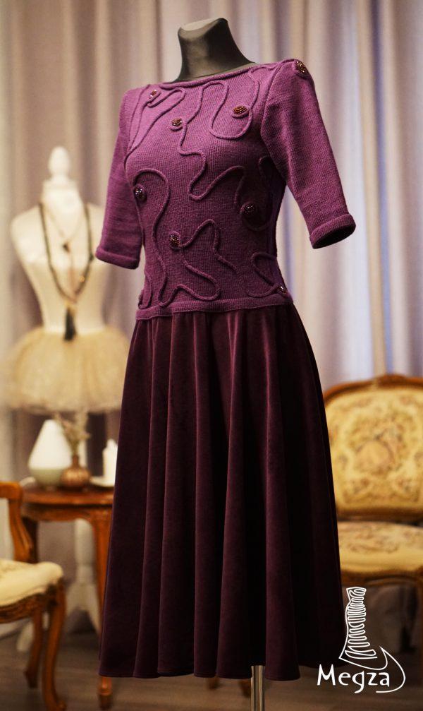 Megza sukneliu namai, violetine, bordine suknele, megzta suknele, prabangi suknele, juoda suknele, klasikine suknele, rubai, vardiniai rubai, suknele sventesm, sventiniai rubai 1