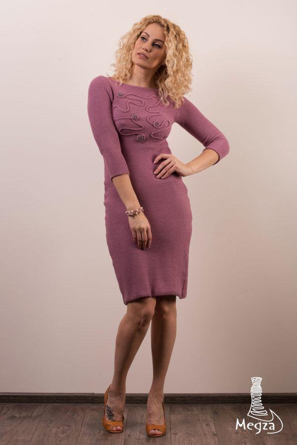 MGZ-272 Laisvalaikio purvinos rožės spalvos suknelė, vakarine suknele, progine suknele, megza suknele, megzta suknele, aptemta suknele, seksuali suknele, suknele darbui1